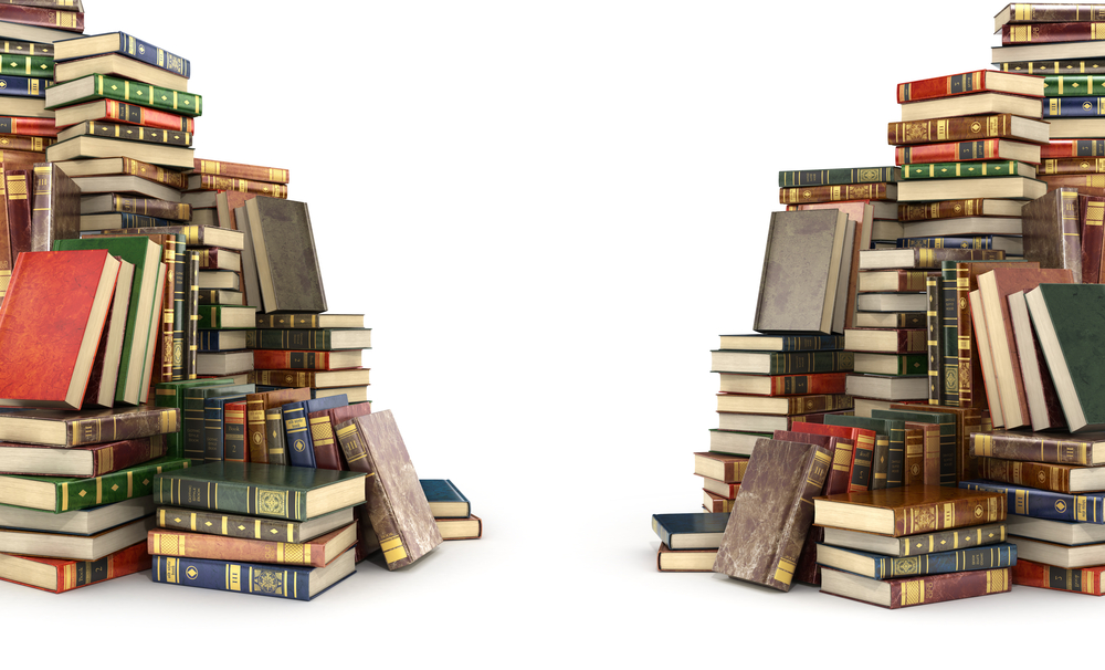two piles of books, divided assets